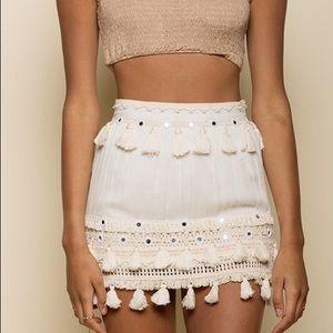 Raga Mini Skirt XS New Ivory Tassel Hem Crochet